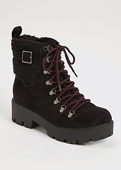 Black Shearling Buckle Lug Booties