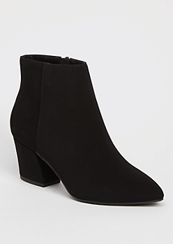 Black Pointed Toe Block Heel Booties