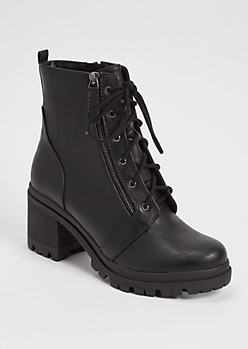Black Lug Sole Lace Up Hiker Boots