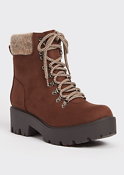 Brown Sweater Knit Hiker Boots