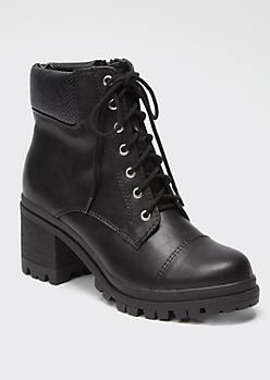 Black Snakeskin Print Lug Heel Hiker Boots