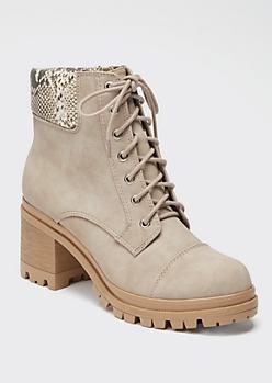 Gray Snakeskin Print Lug Heel Hiker Boots