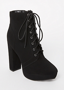 Black Matte Platform Lace Up Booties
