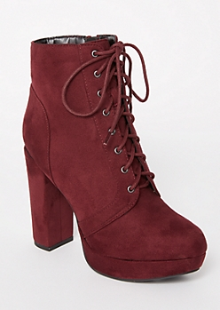 Burgundy Platform Lace Up Booties
