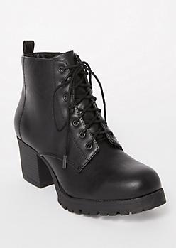 Black Side Zip Faux Leather Booties