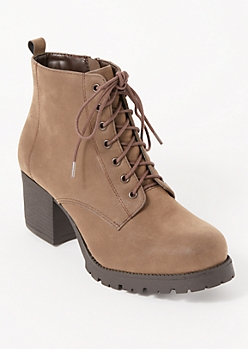Taupe Side Zip Faux Suede Booties
