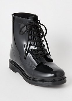 Black Rubber Combat Boots