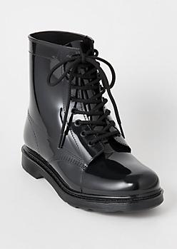 Black Rubber Combat Boots
