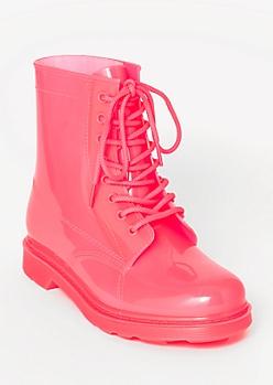 Neon Fuchsia Rubber Combat Boots