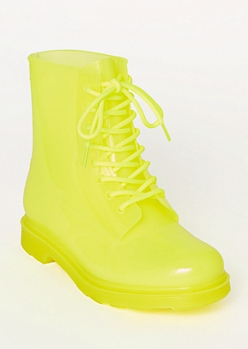 Neon Yellow Rubber Combat Boots