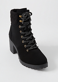 Black Matte Quilt Ankle Hiker Booties