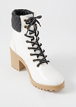 White Quilt Ankle Hiker Booties