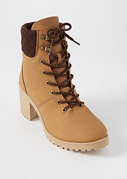 Camel Matte Quilt Ankle Hiker Booties