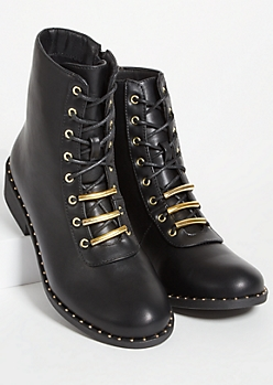 Black Faux Leather Metal Studded Lace Up Boots