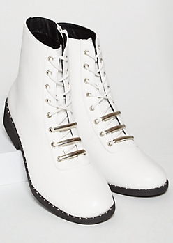 White Faux Leather Metal Studded Lace Up Boots