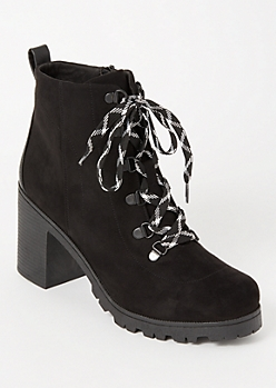 Black Faux Suede Lug Hiker Booties
