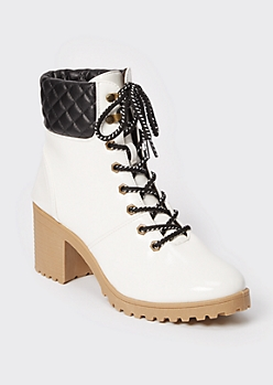 White Faux Leather Lug Heel Hiker Boots