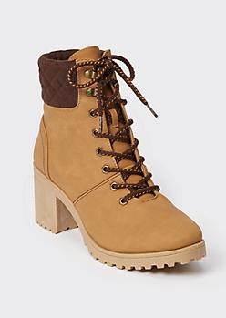 Tan Faux Leather Lug Heel Hiker Boots