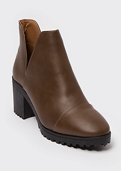Brown Faux Leather Cutout Lug Heel Booties