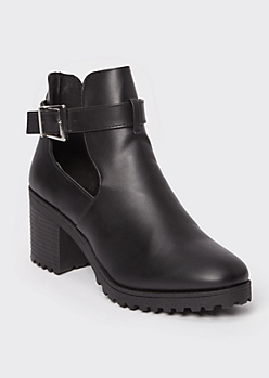 Black Buckled Cutout Lug Heel Booties