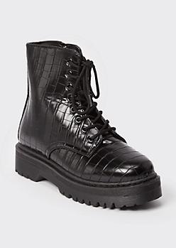 Black Crocodile Platform Ankle Combat Boots