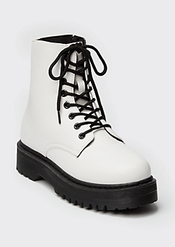 White Platform Ankle Combat Boots