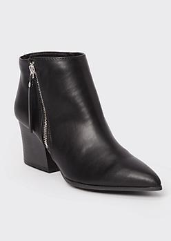 Black Pointy Toe Block Heel Booties