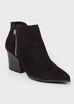 Black Pointy Toe Perforated Block Heel Booties