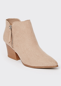 Taupe Pointy Toe Perforated Block Heel Booties