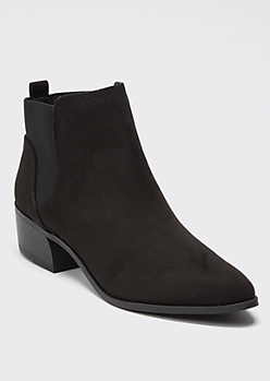 Black Faux Suede Pull On Booties
