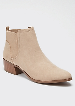 Tan Faux Suede Pull On Booties