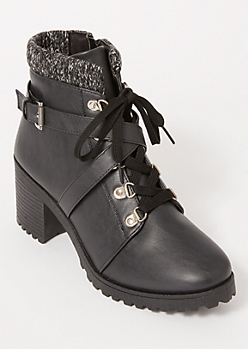 Black Crisscross Knit Ankle Hiker Booties