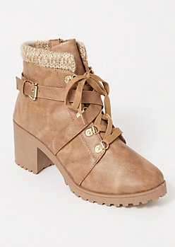 Tan Crisscross Knit Ankle Hiker Booties