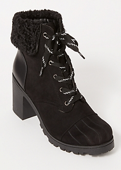 Black Sherpa Embroidered Hiker Booties