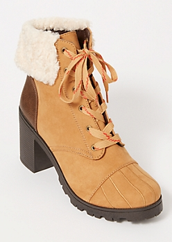 Camel Sherpa Embroidered Hiker Booties