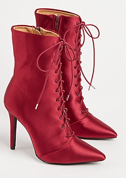 Burgundy Lace Up Satin Booties