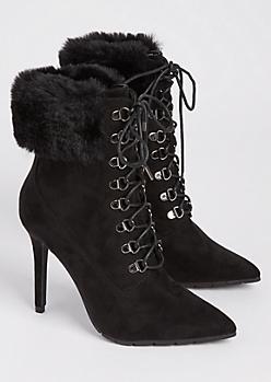 Black Faux Fur Stiletto Booties