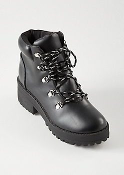 Black Faux Leather Lace Up Lug Boots