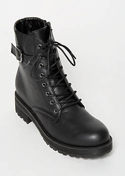Black Side Buckle Combat Boots