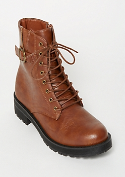Cognac Side Buckle Combat Boots