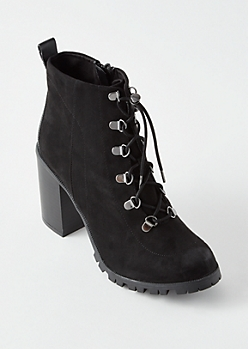 Black Lug Ankle Boots