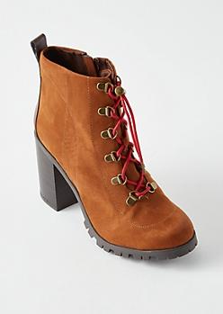 Cognac Lug Ankle Boots