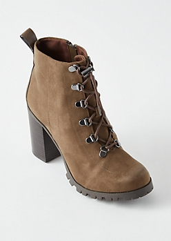 Olive Lug Ankle Boots