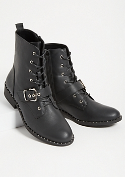Black Studded Buckle Combat Boots