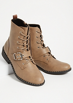 Tan Studded Buckle Combat Boots