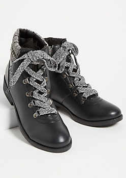 Black Flannel Lace Up Boots