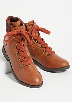 Cognac Flannel Lace Up Boots
