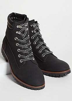 Black Matte Faux Leather Lace Up Boots