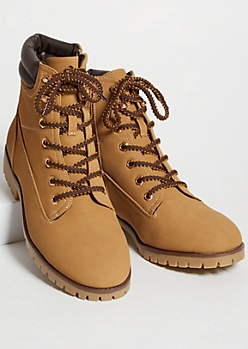 Camel Matte Faux Leather Lace Up Boots