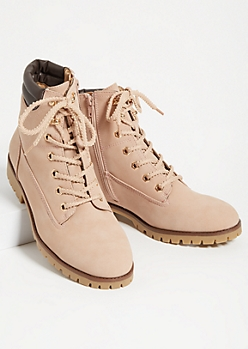 Pink Matte Faux Leather Lace Up Boots